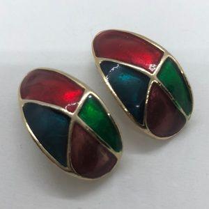 Vintage Jewelry - VTG Festive Clip on Earrings